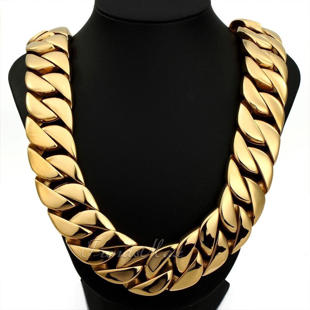 قلادات السلسلة الذهبية الثقيلة