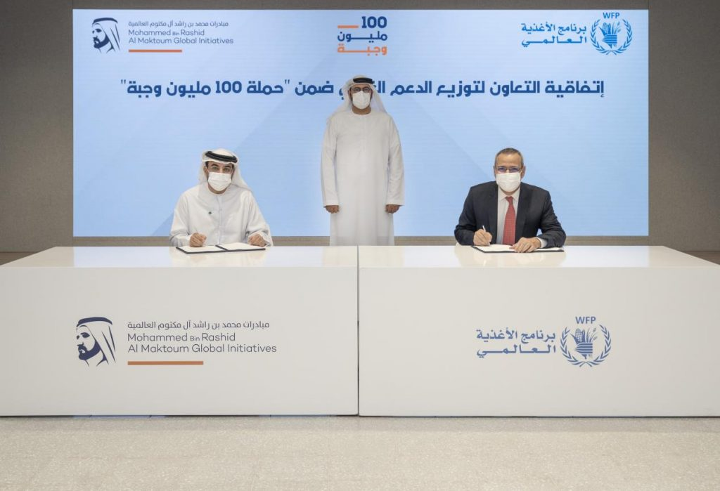 Mohammed bin Rashid Al Maktoum Global Initiatives Officiates Partnership with the UN World Food Programme, to support beneficiaries in Palestine and in refugee camps in Jordan, and Bangladesh