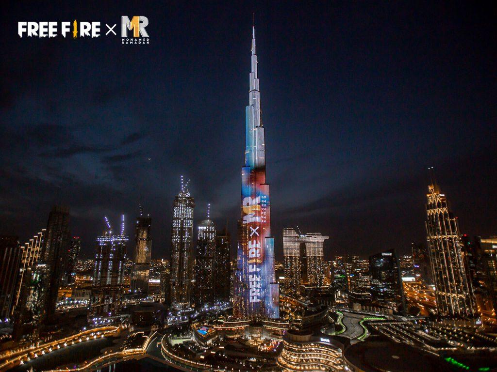 لعبة غارينا فري فاير تختطف الأضواء على برج خليفة مع عرض شخصية النجم العربي محمد رمضان