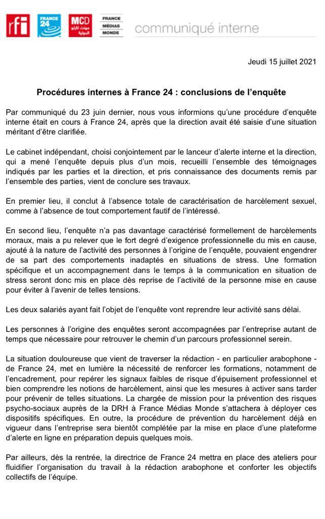 procedure interne a france 24