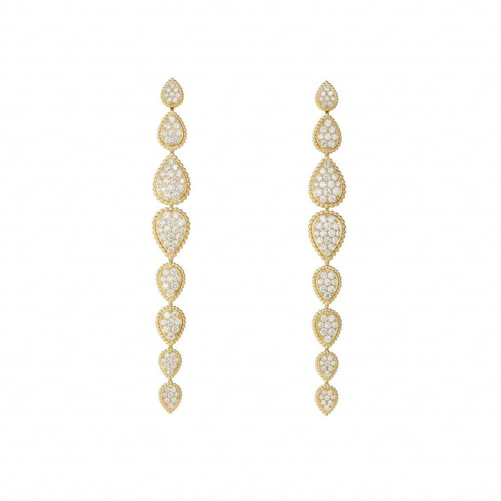 Ola Farahatchose to wear the Serpent Bohème multi-motifs pendant earrings,paved with diamonds