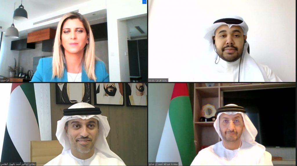 في جلسة افتراضية حضرها وزراء ومسؤولون وممثلون عن مجلس الأعمال الكويتي بدبي