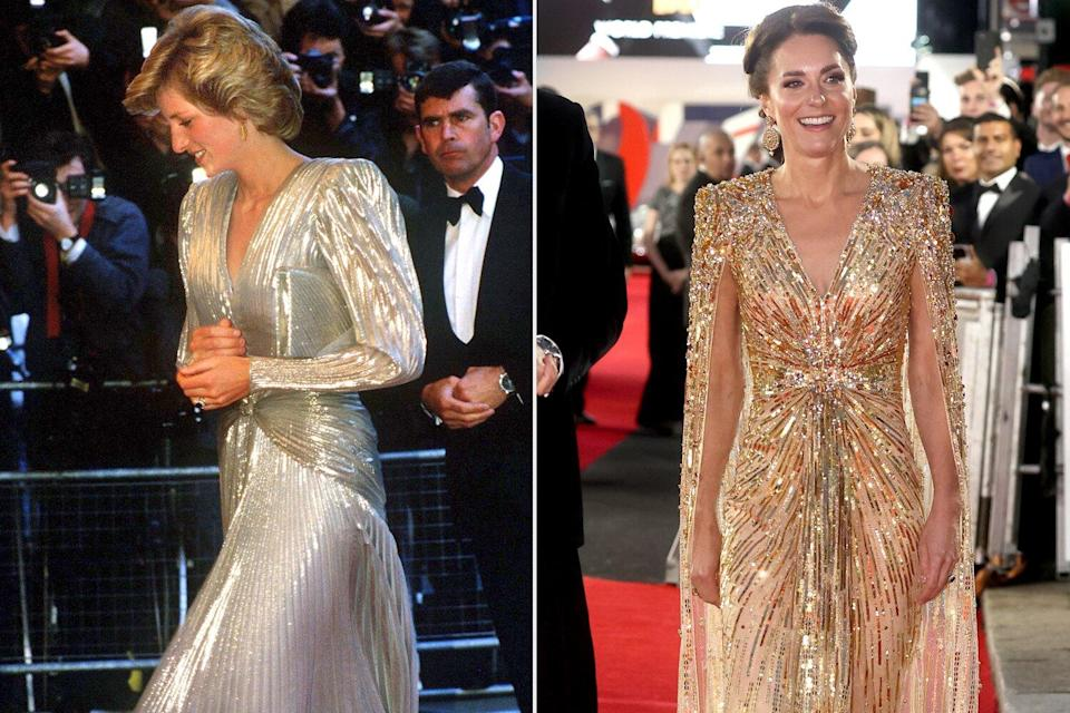 Kate Middleton's Metallic Gown Emulates Princess Diana's Own James Bond Red Carpet Moment from 1985